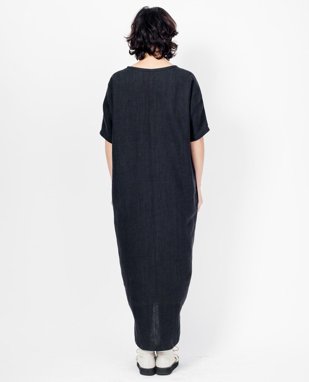 Asta Dress - Black Linen