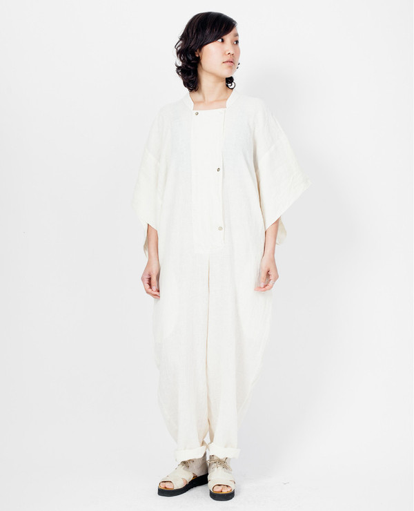 Black Crane Jumpsuit - Cream