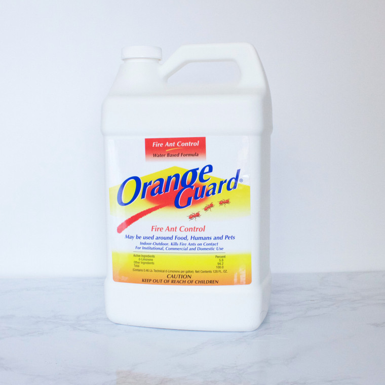 1 gallon bottle of Orange Guard Fire Ant Control, all-natural pest treatment.