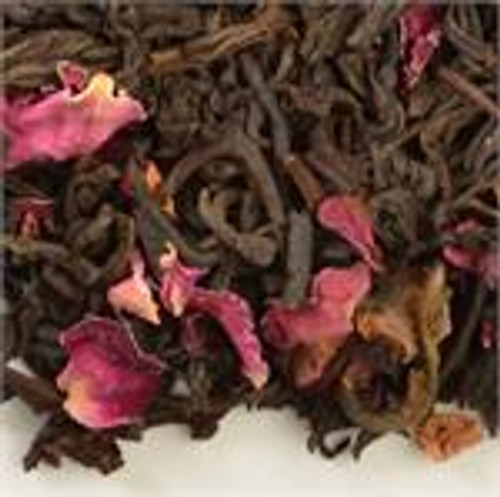 Delicately scented rich black tea with scarlet organic rose petals.