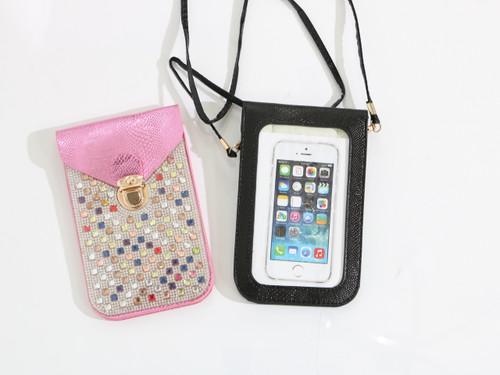 BLING PHONE USE CROSSBODY Pink