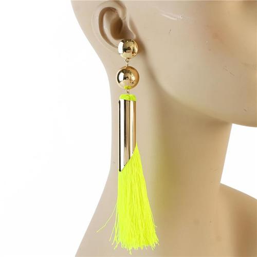 NEON TASSEL EARRING Neon Yellow