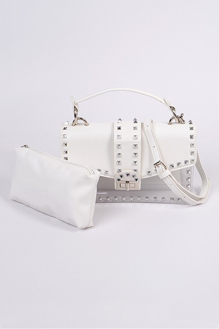 STUDDED CLEAR BAG White