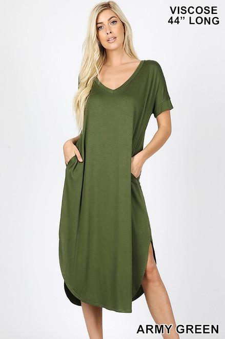 V NECK DRESS ARMY GREEN