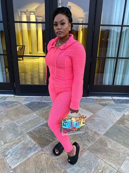 2 Pcs Babe Set Neon Pink