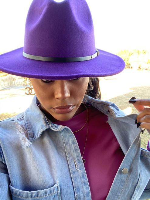 Purple Red Fedora Hat