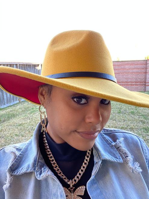 Mustard Red Fedora Hat W