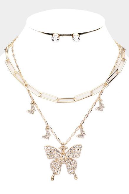 2 PCS Butterfly Necklace Gold