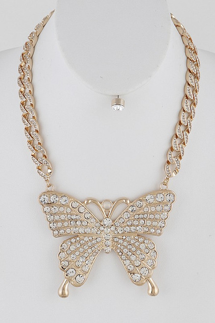 Big Butterfly Necklace Gold