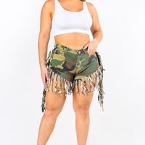 Camouflage Fringe Shorts