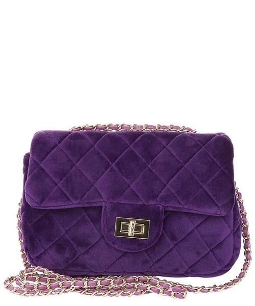 Quilted Velvet Crossbody Purple