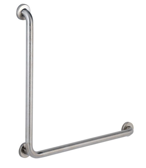 "Bobrick B-6898.99 1-1/2"" Diameter 90 Degree Grab Bar, Peened"
