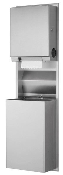 Bobrick B-39617 Recessed Convertible Paper Towel Dispenser/Waste Receptacle