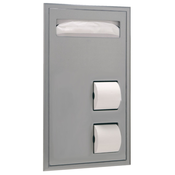 Bobrick B-34715 ClassicSeries® Partition-Mounted Seat-Cover Dispenser and Toilet Tissue Dispenser