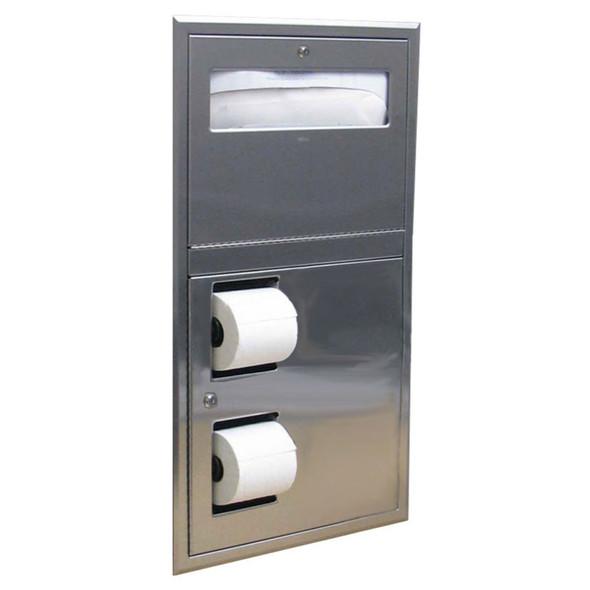 Bobrick B-34745 ClassicSeries® Recessed Seat-Cover Dispenser and Toilet Tissue Dispenser