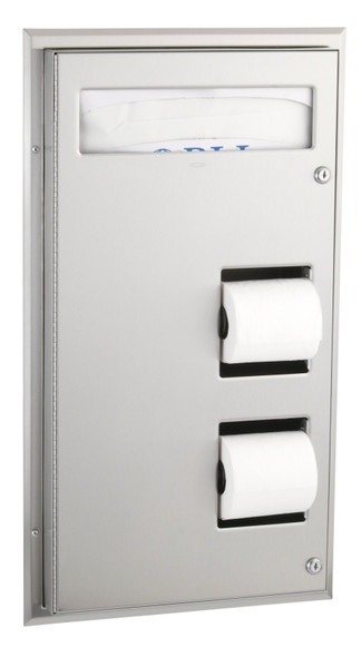 Bobrick B-347 ClassicSeries® Partition Mounted Seat-Cover Dispenser and Toilet Tissue Dispenser