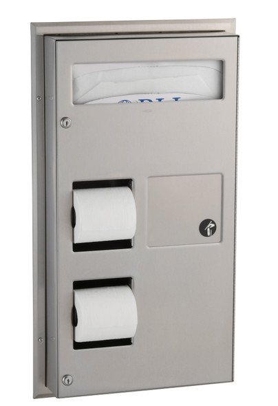 Bobrick B-3571 ClassicSeries® Partition-Mounted Sanitary Napkin Disposal and Toilet Tissue Dispenser