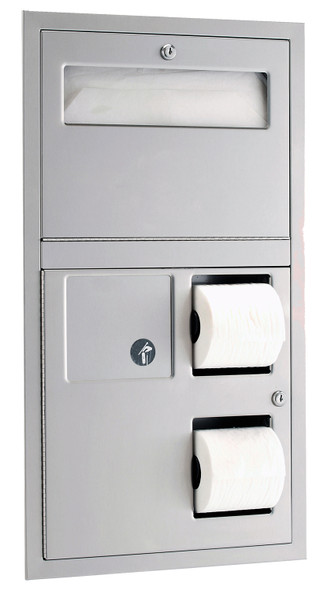 Bobrick B-3574 ClassicSeries® Recessed Seat-Cover Dispenser Sanitary Napkin Disposal and Toilet Tissue Dispenser