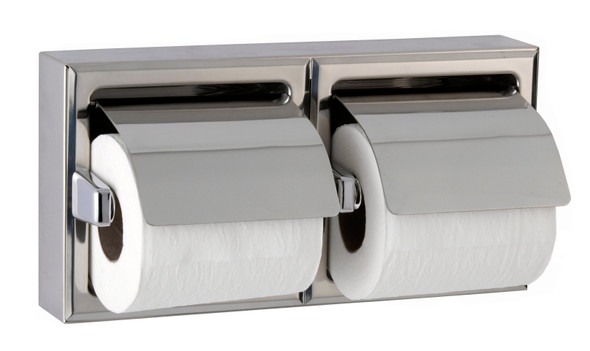 Bobrick B-6999 Surface-Mounted Toilet Tissue Dispenser with Hood