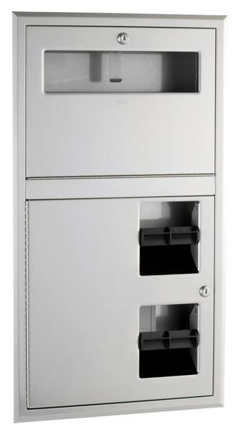 Bobrick B-3474 ClassicSeries® Recessed Seat-Cover Dispenser and Toilet Tissue Dispenser