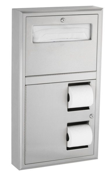 Bobrick B-3479 ClassicSeries® Surface-Mounted Seat-Cover Dispenser and Toilet Tissue Dispenser
