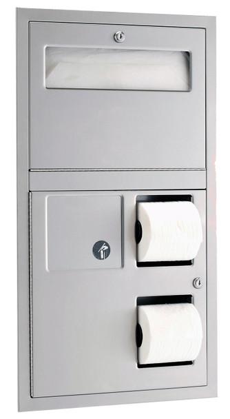 Bobrick B-3574 ClassicSeries® Recessed Seat-Cover Dispenser Sanitary Napkin Disposal and Toilet Tissue Dispenser