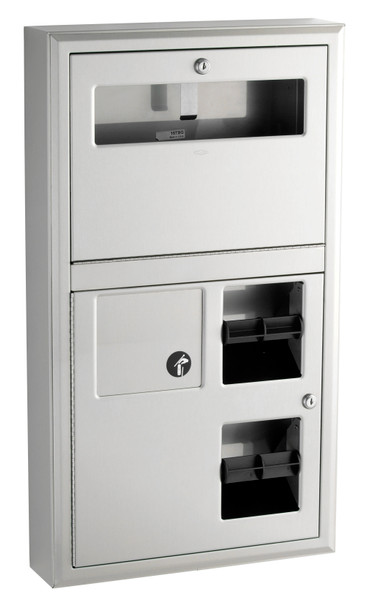 Bobrick B-3579 ClassicSeries® Surface-Mounted Seat-Cover Dispenser Sanitary Napkin Disposal and Toilet Tissue Dispenser