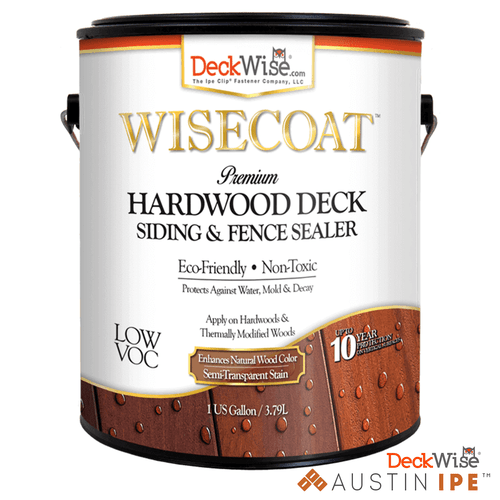 WiseCoat Premium Hardwood Deck Siding and Fence Water Sealer for Natural Wood ECO Friendly NonToxic AustinIpe
