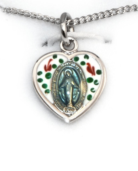 Enameled /Sterling Heart-Shape Miraculous Medal