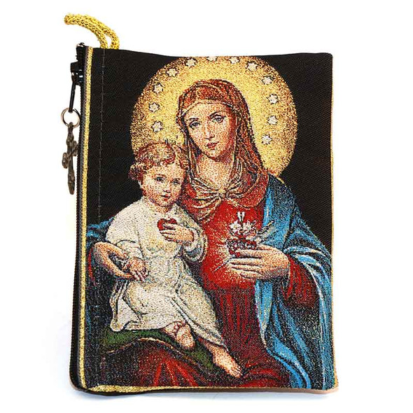Sacred Hearts of Jesus and Mary Pouch front