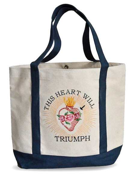 This Heart will Triumph, Embroidered Canvas Tote