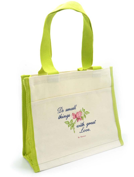 Saint Therese Quote, embroidered tote