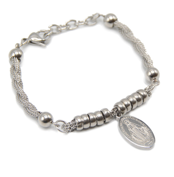 Stainless Steel Miraculous Medal Bracelet