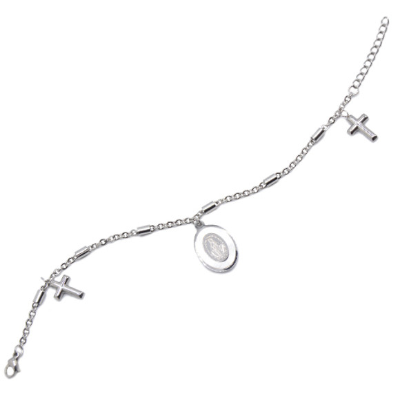 Miraculous Medal and Cross Bracelet