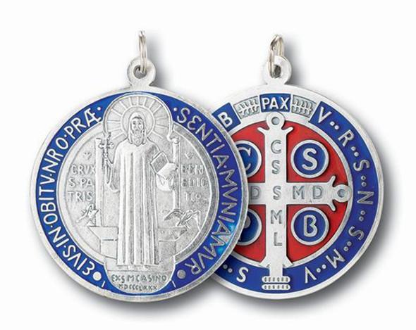 Sterling Silver Saint Benedict Medal Enameled