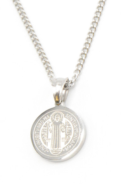 Stainless Steel Engraved Saint Benedict Medal