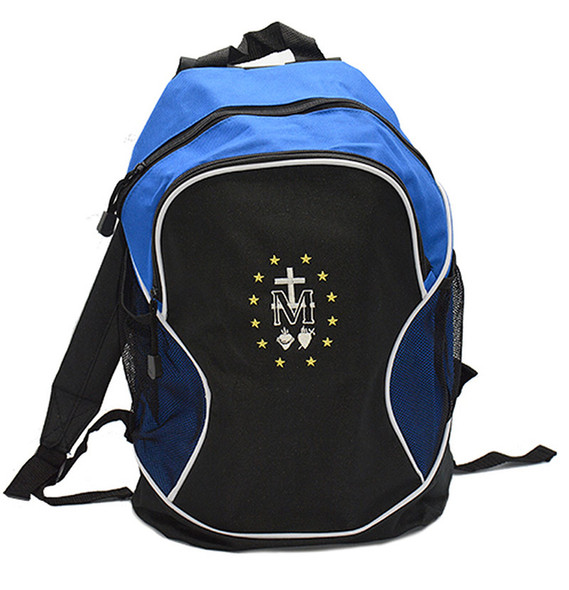 Blue Backpack with Miraculous Medal Embroidery