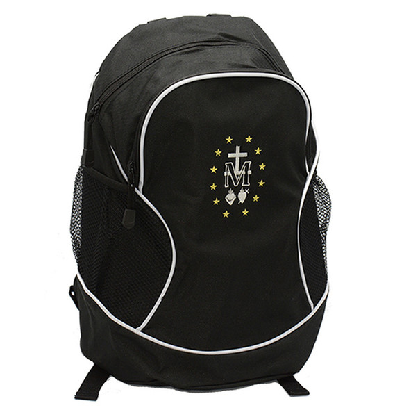 Black Backpack with Miraculous Medal embroidery