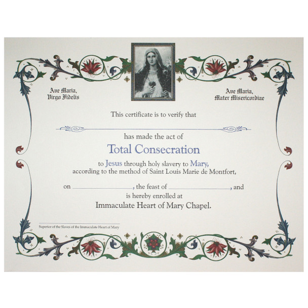 Total Consecration Certificate