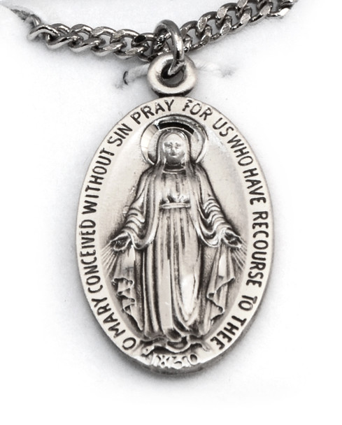 """Sterling Miraculous Medal 24"""" Chain"""
