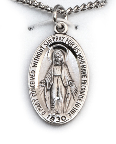 """Oval Sterling Miraculous Medal 18"""" Chain"""