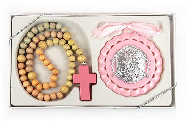 Pink Crib Medal and Rosary gift set