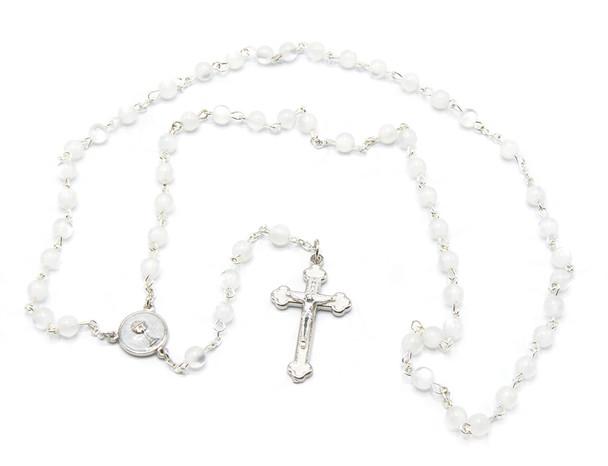 White Communion Rosary Enameled