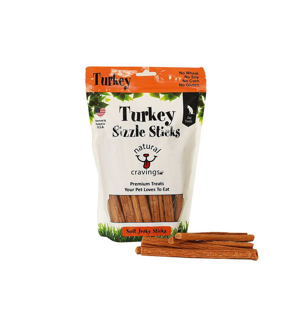 Our Turkey Jerky made from U.S. Cage Free Turkeys. Turkey Sizzle Sticks help support cognitive brain function and help build a healthy immune system. This high protein tender jerky is guaranteed to become one of your dog's favorite.