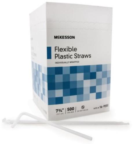 McKesson Flexible Drinking Straws - White