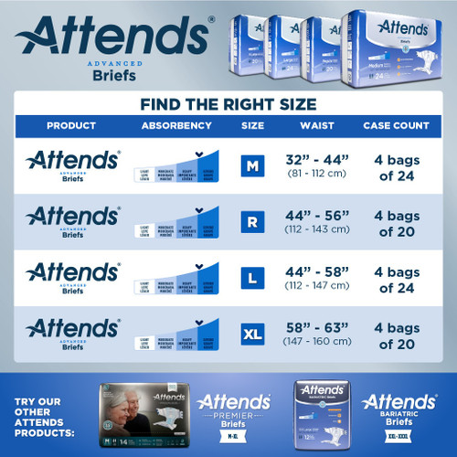 attends diapers with tabs size chart