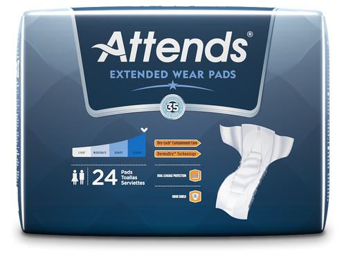 Attends Extended Wear Pads, Overnight