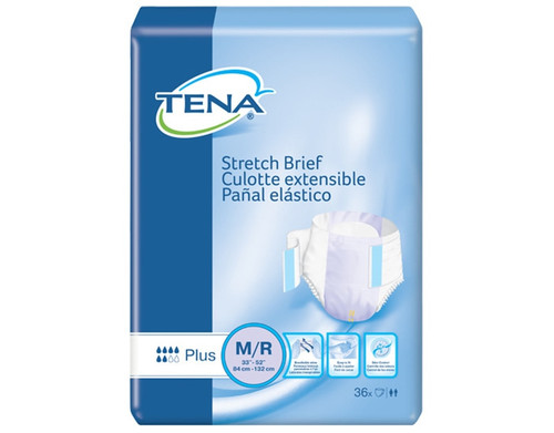 TENA Stretch Plus Incontinence Brief, Moderate Absorbency