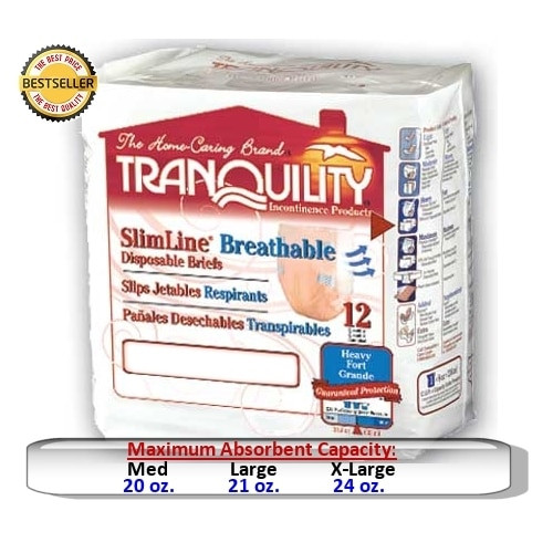 Tranquility SlimLine Breathable Disposable Briefs with Tabs, Heavy