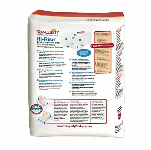 Tranquility Hi-Rise Bariatric Disposable Briefs with Tabs, Maximum